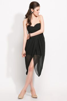 Women Party Dresses Formal Irregular Attractive Black Strapless Dress,$14.58