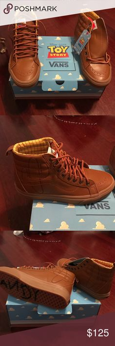 Toy Story x Vans Woody Shoes Rare find. Never worn woody shoes by vans x toy story. 7.5 women 6.0 men SK8-HI Reissue PT. Fits true to size. Vans Shoes Sneakers