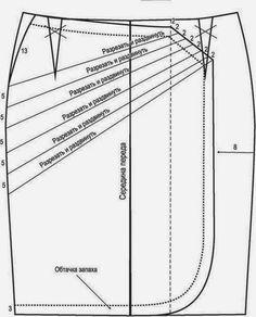 Faça o seu molde base de saia, aprenda aqui. Depois de ter feito o seu molde base siga as sugestões do desenho e faça a saia à sua medida. A saia é uma das