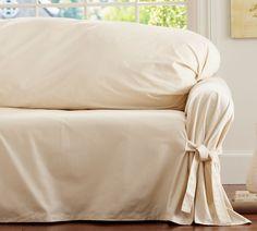 Twill Tie-Arm Loose-Fit Slipcover, Small Sofa, Cream