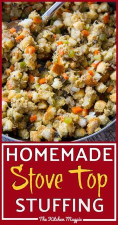 Homemade stove top stuffing, one of my favorite things to eat during the holidays! This is the best recipe I have ever tasted for it! Best Stuffing Recipe, Turkey Stuffing Recipes, Homemade Stuffing, Stuffing Recipes For Thanksgiving, Thanksgiving Sides, Happy Thanksgiving, Turkey Dinner Sides, Vegetarian Recipes, Cooking Recipes