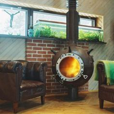 Fireplace made from a naval mine!