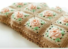 Granny Square Blanket Beautiful Crochet Rose Granny Square Afghan Pattern People Love To Receive [Video Tutorial] - Knit And Crochet Daily - This beautiful crochet rose granny square afghan pattern is definitely a work of art. Crochet Puff Flower, Crochet Flower Patterns, Afghan Crochet Patterns, Crochet Flowers, Knitting Patterns, Crochet Blocks, Knitting Ideas, Free Knitting, Granny Square Crochet Pattern