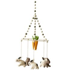 Felted wool Petit Pehr mobiles are modern heirlooms.This mobile has three white bunnies, two brown bunnies and a bunch of carrots. x Comes in gift box! Peter Rabbit Nursery, Bunny Nursery, Baby Nursery Decor, Nursery Themes, Baby Decor, Nursery Ideas, Girl Nursery, Nursery Mobiles, Themed Nursery