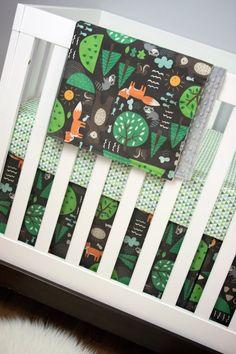 Forest Animals, Woodland, Fox, Raccoon, Bear, Crib Bedding, Baby Bedding, Bumperless Cribset Brown Green Orange Gray