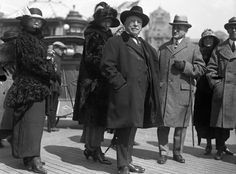 Samuel Gompers strolls on the boardwalk in Atlantic City in 1923. He  was a key figure in American labor history and founded the American Federation of Labor (AF of L).