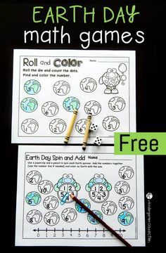 These printable Earth Day math games are great for Pre-K, Kindergarten, and 1st grade students to develop number sense and math skills!