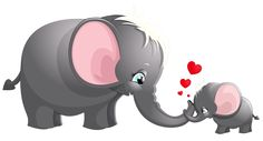 Transparent Cute Mom and Kid Elephant Cartoon Picture