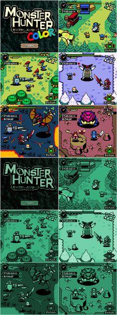Pixel Artist Reimagines Monster Hunter As A Game Boy Color Game - Siliconera Monster Hunter 4 Ultimate, Monster Hunter Series, Monster Hunter Art, Cry Anime, Anime Devil, Girls Anime, Manga Girl, Destiny Game, Pixel Art Games