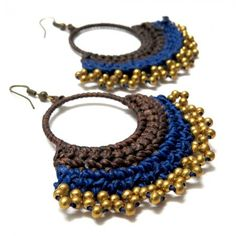Crochet Hoop Earrings - Blue, $21