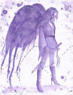 Guardian I - Female Archangel w/Sword 8 x 10 1st Run Watercolor Print Violet Purple Nephilim Angel Warrior. $10.00, via Etsy.