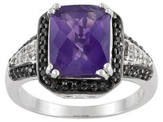 2.95ctw Cushion African Amethyst, Black Spinel And White Topaz Sterling Silver Ring