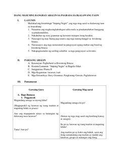 """ISANG MASUSING BANGHAY ARALIN SA PAGBASA SA IKALAWANG TAON I.  LAYUNIN Mailahad ang kwentongn """"Impeng Negro"""" ,ang mga mag-... 4a's Lesson Plan, Lesson Plan Examples, Teacher Lesson Plans, Simple Background Images, Simple Backgrounds, Short Stories For Kids, Filipino, High School, Student"""