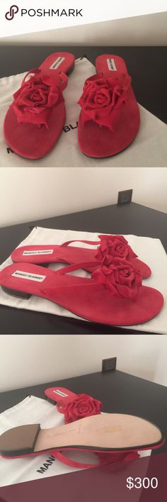 New Manolo Blahnik red suede flower sandal. New, never worn Manolo Blahnik Patricia red suede flower sandal.  Euro size 41.  I have the dust bag. Manolo Blahnik Shoes Sandals