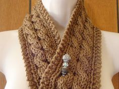 Cabled Scarf  Brown Chunky Knit Scarf with by CherylsKnits on Etsy, $50.00