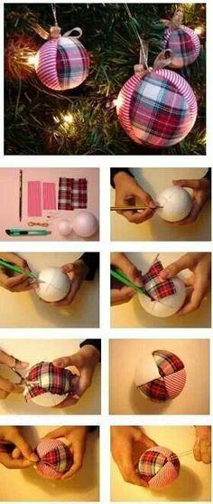 bola arvore de natal com tecido xadrez