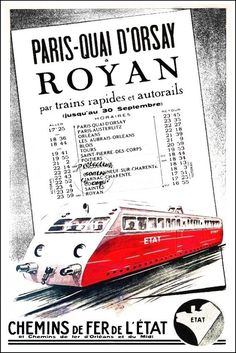TRAIN PARIS-ROYAN Rf25-REPRODUCTION 40x60cm d'1 AFFICHE ANCIENNE/VINTAGE | Collections, Calendriers, tickets, affiches, Affiches pub: rééditions | eBay! Illustrations Vintage, Poitiers, Train Art, Railway Posters, Paris, Vintage Travel Posters, Locomotive, Transportation, Images