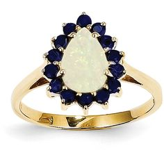 14k Yellow Gold Pear Opal and Sapphire Ring (820 BRL) ❤ liked on Polyvore featuring jewelry, rings, gold, pear ring, 14k yellow gold ring, opal ring, gold jewellery and 14k gold jewelry