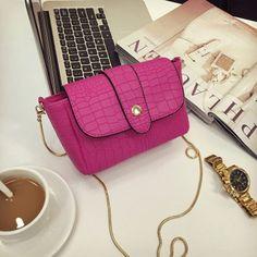 Item Type: Handbags Exterior: Flap Pocket Number of Handles/Straps: Single Interior: Interior Zipper Pocket Closure Type: Zipper & Hasp Handbags Type: Messenger Bags Shape: Baguette Decoration: Chains