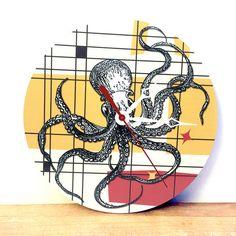 Octopus Art Clock - Retro Wall Clock - Wood Wall Clock - Vintage Wall Clock…