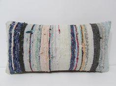 kilim lumbar pillow blue decorative pillow by DECOLICKILIMPILLOWS