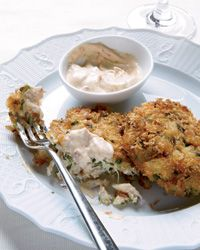 Crab cakes with chipotle mayonnaise.