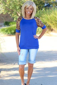 Royal Blue Raglan Top with Sheer Leopard Sleeves - One Faith Boutique (With images) Medium Hair Cuts, Medium Hair Styles, Short Hair Styles, One Length Hair, One Faith Boutique, Blonde Hair Looks, Teased Hair, Blonde Color, Hair Color