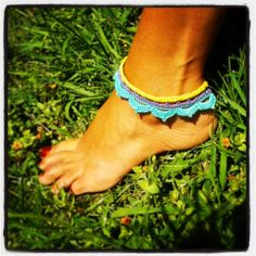 Lotus anklet / bracelet in yellow, purple and turquoise. 100% cotton ~ Handmade crochet www.facebook.com/thelittlebeenz