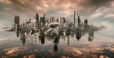 Futuristic Cloud City Scifi