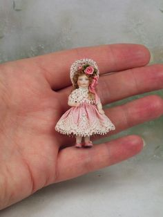 Terri's Dolls by terrisdolls Tiny Dolls, Old Dolls, Antique Dolls, Dollhouse Dolls, Dollhouse Miniatures, Victorian Dollhouse, Miniature Crafts, Miniature Dolls, Dollhouse Accessories