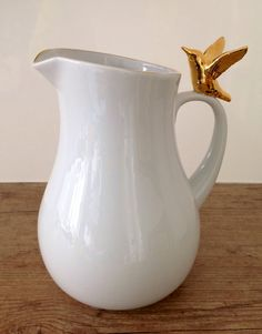 Jarra Pássaro Gold | LG porcelana personalizada @lilianegarmes