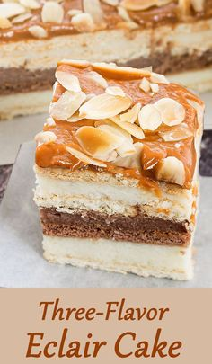 No-bake. delicious layered Eclair Cake with 3 flavors - vanilla, chocolate and caramel / dulce de leche.   http://www.winnish.net/2015/06/7034/