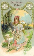 vintage Easter card with lamb