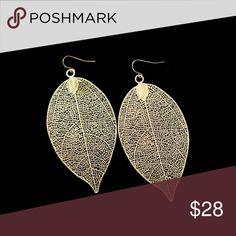 Gold Filigree Leaf Dangle Earrings Boho style large filigree leaf earrings. fairlygirly Jewelry Earrings