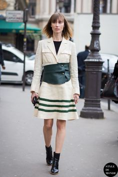 Anya Ziourova of Tatler Russia wearing J.W. Anderson outfit and Phillip Lim boots after Stella McCartney fashion show | Paris Fashion Week AW 2015 | Style du Monde