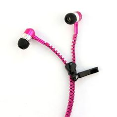 Top Seller Tangle-free Zipper Earphones with Microphone for htc/blackberry/iphone/ipad (Hot Pink)