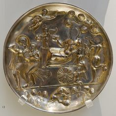 Silver plate with Dionysus and banqueting scenes, c.100-299AD. British Museum