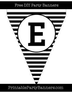 Black and White Pennant Horizontal Striped Capital Letter E
