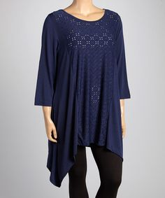 Look what I found on #zulily! Navy Eyelet Sidetail Tunic - Plus by Allie & Rob #zulilyfinds