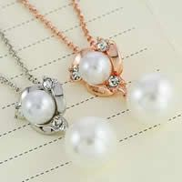 Glass Zinc Alloy Necklace, with brass chain & Glass Pearl, with 5cm extender chain, Round, plated, rolo chain & with rhinestone, mixed colors, nickel, lead & cadmium free