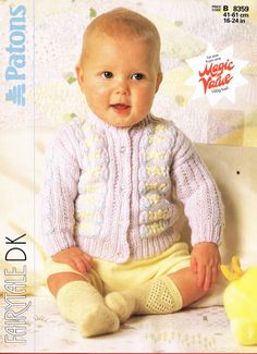 Patons 8359 - vintage baby cardigan knitting pattern https://www.facebook.com/groups/1512986558934256/
