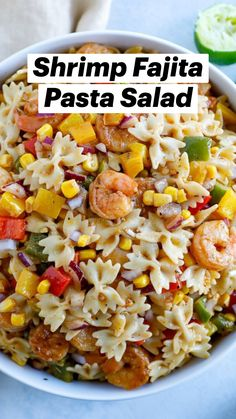 Easy Pasta Salad Recipe, Healthy Pasta Recipes, Healthy Pastas, Healthy Meal Prep, Seafood Recipes, Healthy Eating, Cooking Recipes, Healthy Food, Shrimp Recipes For Dinner