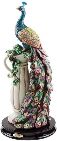 """Amazon.com - 17"""" Colorful Plumage Peacock Home Garden Sculpture Statue Figurine -"""