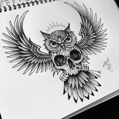Для клиента / For my client #backpiece #owl #skull #edwardmiller #tattoo…
