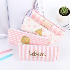 Cheap pencil bag, Buy Quality kawaii cosmetic bag directly from China girl pencil bag Suppliers: Creative Cute Pink White Stripes Dots Checks Canvas Pencil Case Big Capacity Girls Pencil Bag Stationery Kawaii Cosmetic Bag