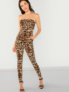 To find out about the Leopard Print Slim Fitted Bandeau Jumpsuit at SHEIN, part of our latest Jumpsuits ready to shop online today! Bandeau Jumpsuit, Jumpsuit Dress, Jumpsuit Style, Bridal Jumpsuit, World Of Fashion, Fashion News, Women's Fashion, Skinny Waist, Young Models