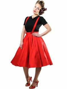 Collectif Women's Red 1950s Rockabilly Swing Retro Skirt