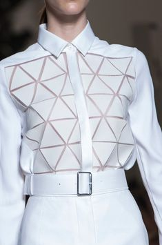 White shirt with tessellating triangle applique; geometric fashion details // Victoria Beckham SS14