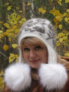 Check out Downy hat with pompons of the a polar fox. Hat with pompons. Downy hat. Handmade hat. on downworkshop