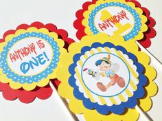 3 - Centerpieces or Cake Toppers - Pinocchio Inspired Happy Birthday Theme - Blue Polka Dot Red & Yellow Accents - Party Packs Available on Etsy, $15.00